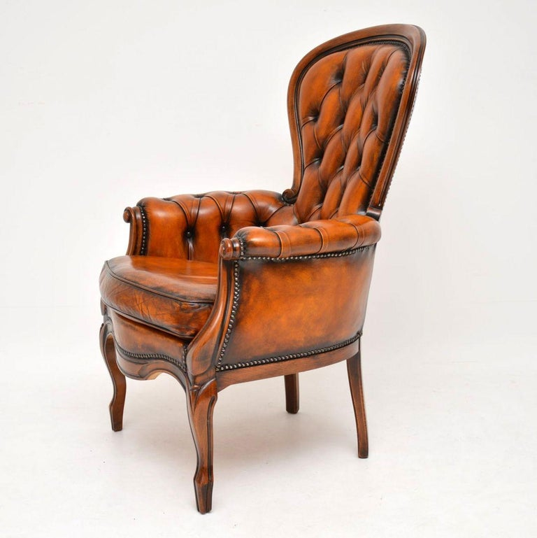 French Antique Leather and Mahogany Spoon Back Armchair For Sale