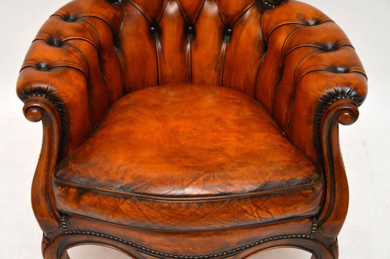 Antique Leather and Mahogany Spoon Back Armchair For Sale 1