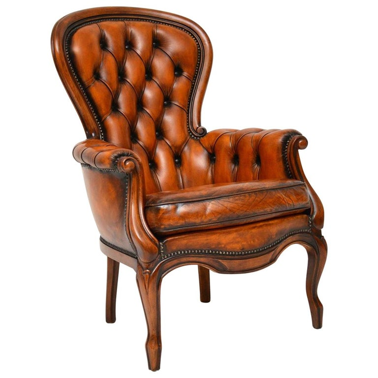 Antique Leather and Mahogany Spoon Back Armchair For Sale