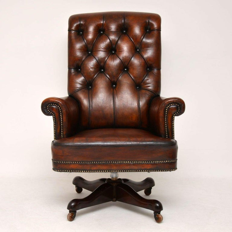 Leather And Mahogany Swivel Desk Chair