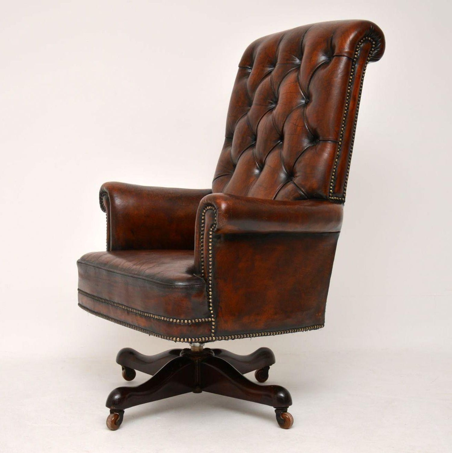 Enjoyable Antique Leather And Mahogany Swivel Desk Chair At 1Stdibs Pabps2019 Chair Design Images Pabps2019Com