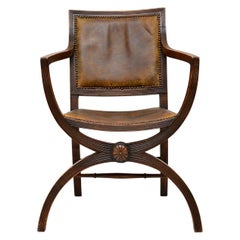 Antique Leather & Mahogany X-Frame Armchair