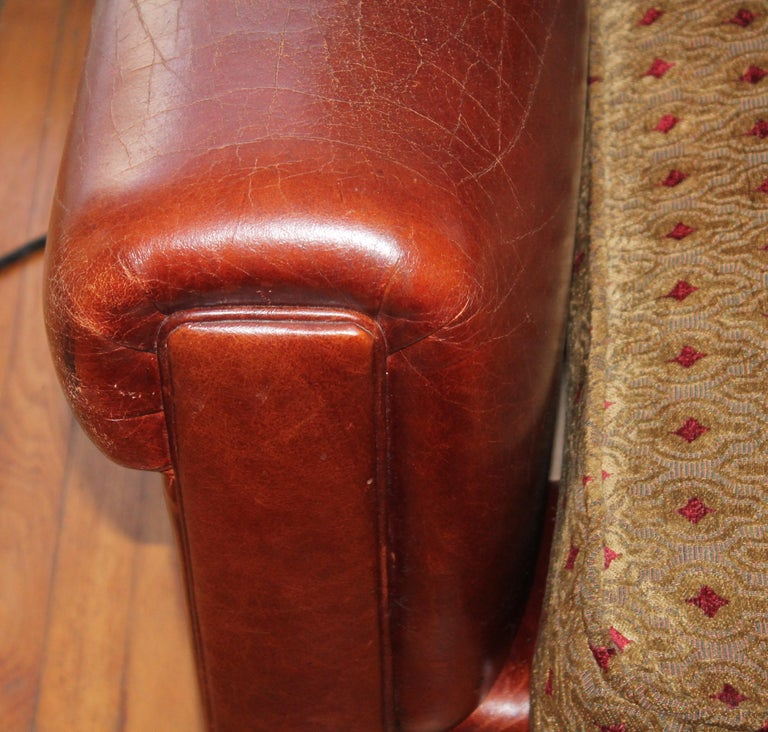 Hand-Crafted Antique Leather Sofa with Custom-Made Cushion For Sale