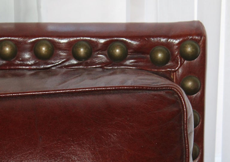 20th Century Antique Leather Sofa with Custom-Made Cushion For Sale