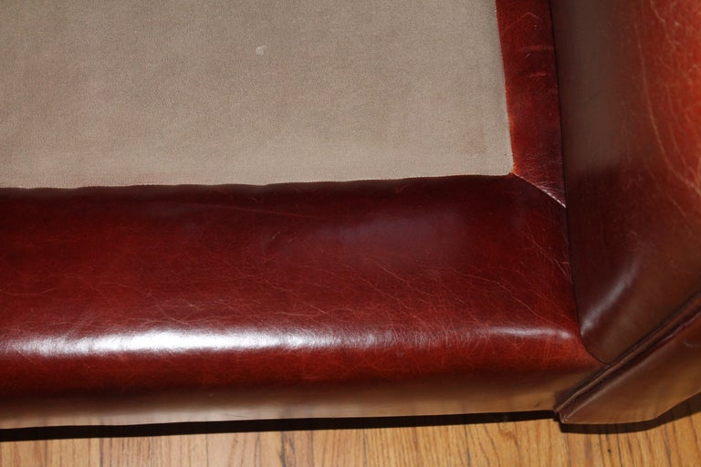 Cotton Antique Leather Sofa with Custom-Made Cushion For Sale