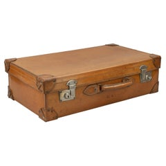 Antique Leather Suitcase, Travelling Luggage or Motoring Case