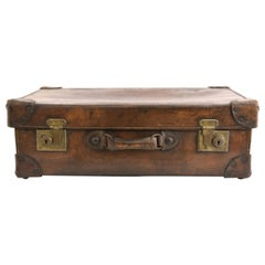 Antique Leather Suitcase with Brass Hardware