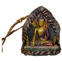 Antique Leather Tibetan Amulet, with Buddha in Meditation