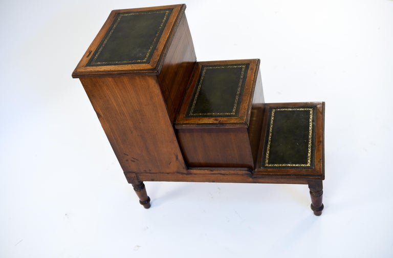 Antique Leather Top Mahogany Library Steps For Sale 2