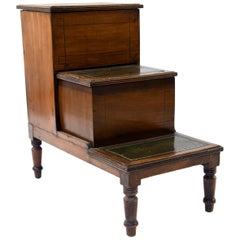 Antique Leather Top Mahogany Library Steps