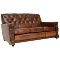 Antique Leather Upholstered Carved Oak Sofa