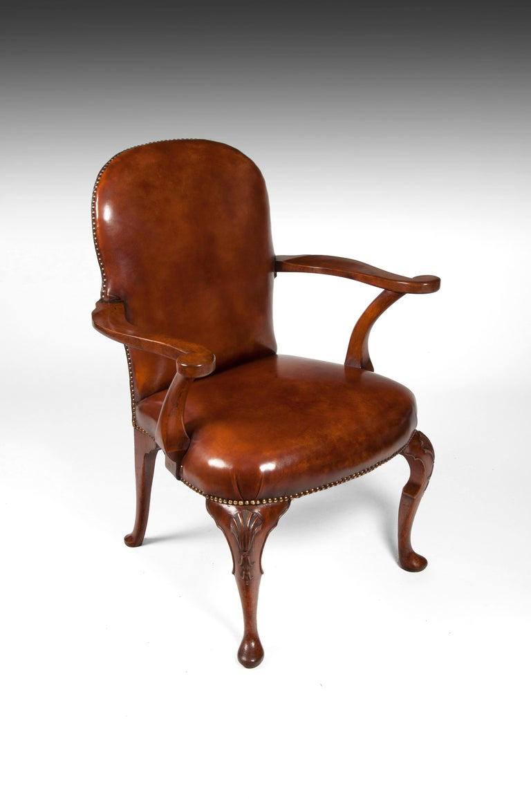 Antique Leather Upholstered Walnut Armchair on Cabriole ...