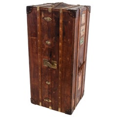Antique Leather Wardrobe Steamer Trunk