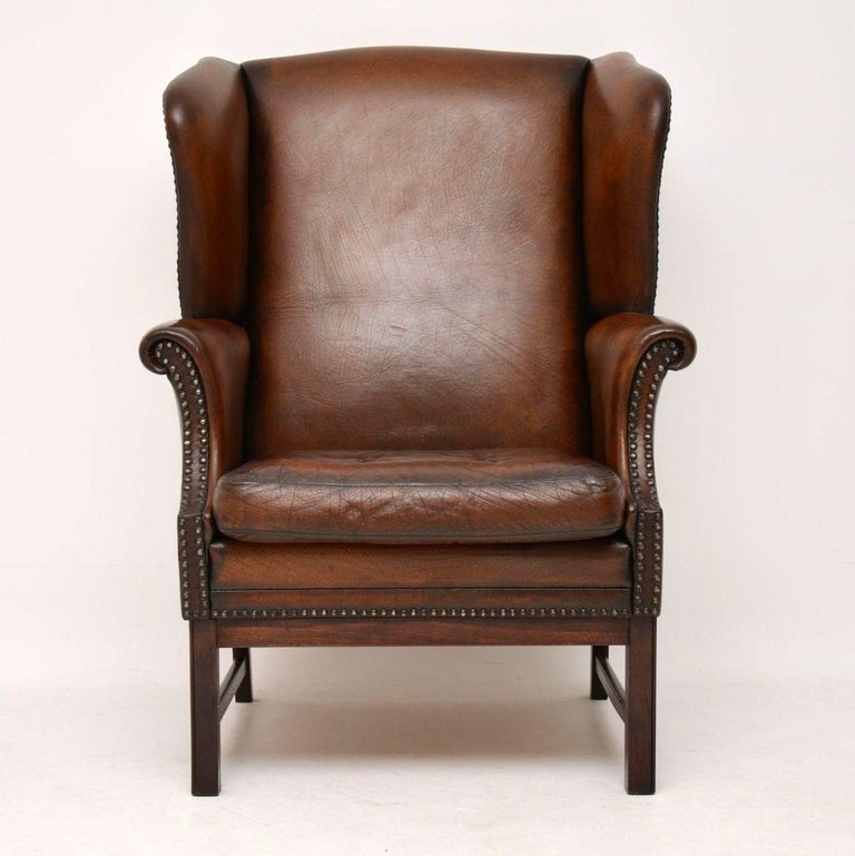 Antique Leather Wing Back Armchair at 1stdibs