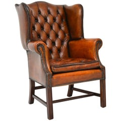 Antique Leather Wingback Armchair