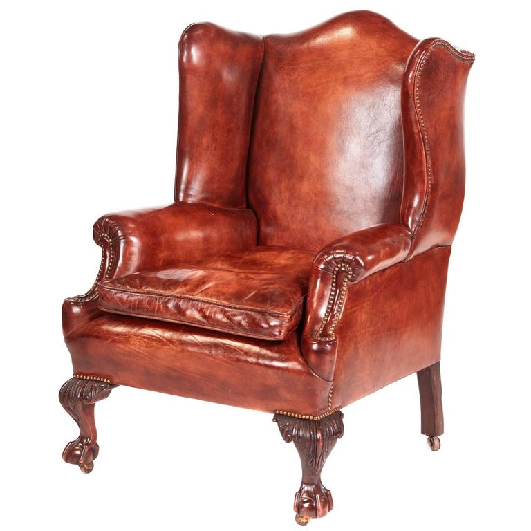 Antique Leather Wing Back Library Chair For Sale at 1stdibs