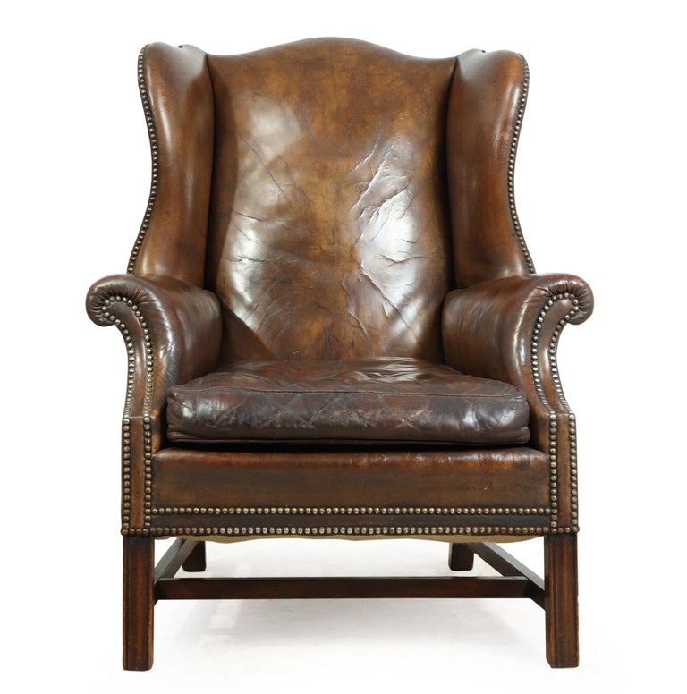 Groovy Antique Leather Wing Chair At 1Stdibs Cjindustries Chair Design For Home Cjindustriesco