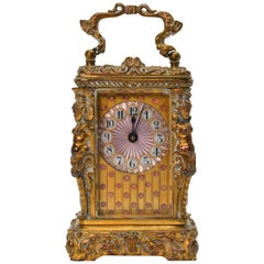 Antique L'Epee Miniature Carriage Vanity Clock