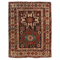 Antique Lesgi Star Traditional Red and Beige Wool Rug