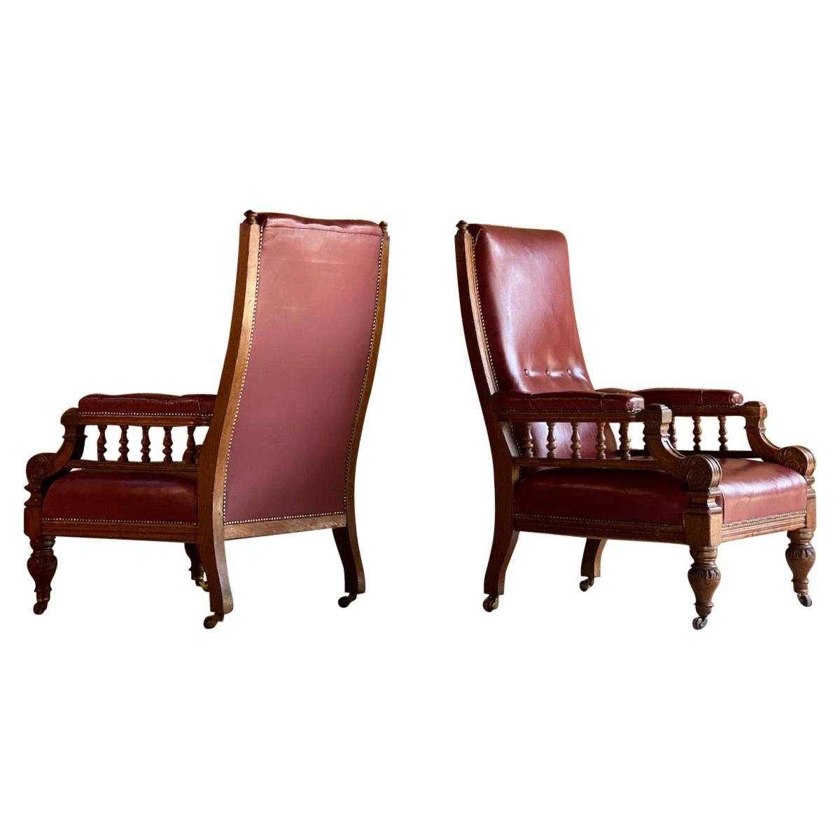 Antique Library Armchairs, Oak and Leather, England, circa 1860