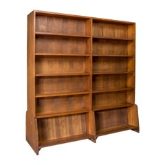 Antique Library Bookshelf, Pitch Pine, Double-Sided Bookcase, Room Divider