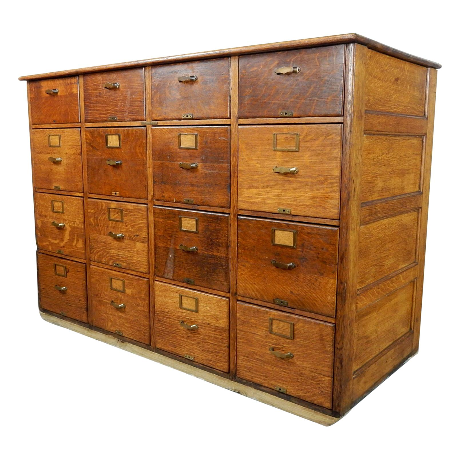 Antique Library Bureau SoleMakers Tiger Oak 16 Drawer File Cabinet, 1920's