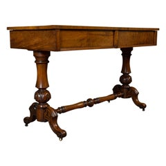 Antique Library Table, English, Flame Mahogany, Sofa, Regency Period, circa 1820