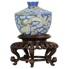 Antique Lidded Jar China 1900 Dragon in Clouds Chinese porcelain Qing Dynasty
