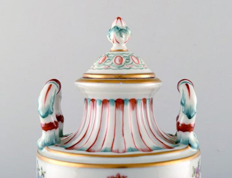 Biedermeier Antique Lidded Vase of Porcelain in Overglaze, Classic Style, Late 1800s For Sale