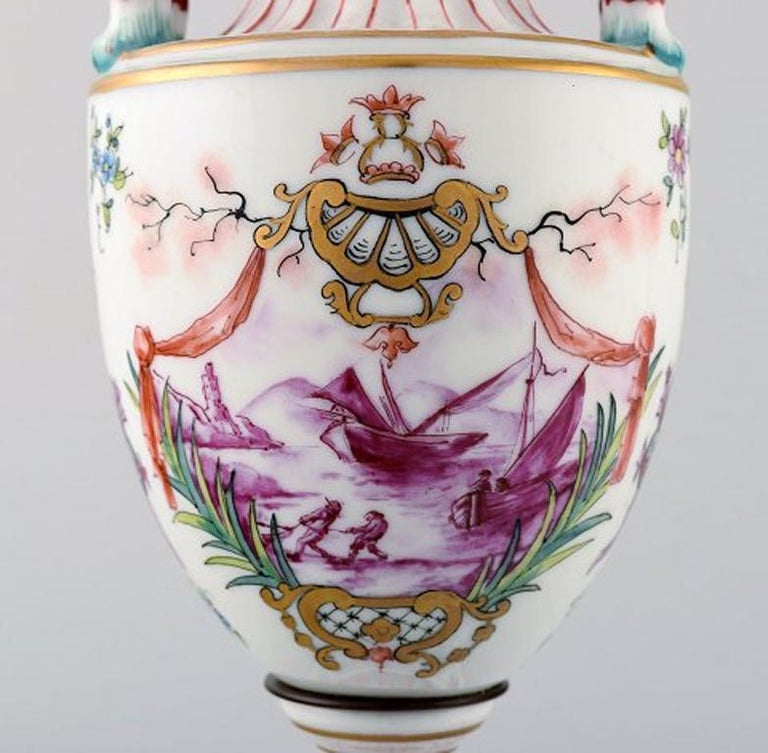 European Antique Lidded Vase of Porcelain in Overglaze, Classic Style, Late 1800s For Sale