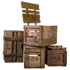 Antique Lidden Wood Crates with Stencils