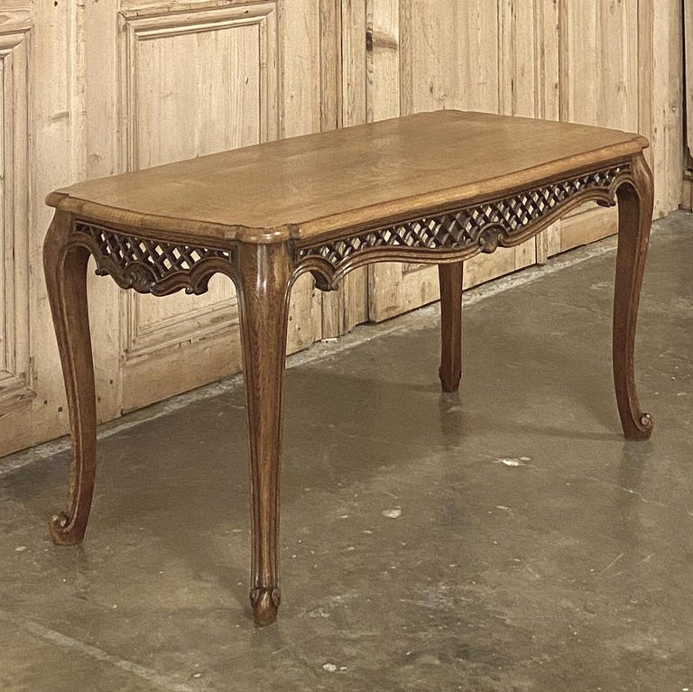 Hand-Crafted Antique Liegoise Carved Oak Coffee Table For Sale