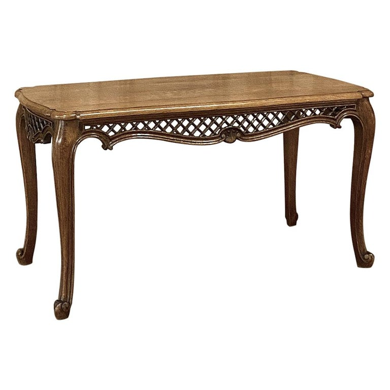 Antique Liegoise Carved Oak Coffee Table For Sale
