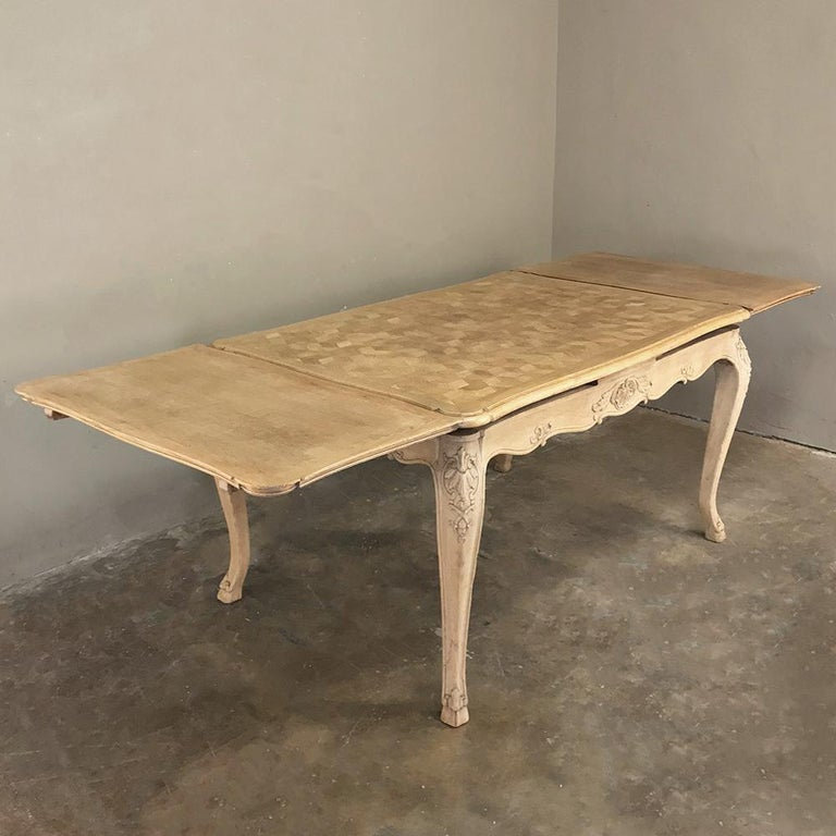 French Antique Liegoise Stripped Draw Leaf Dining Table For Sale