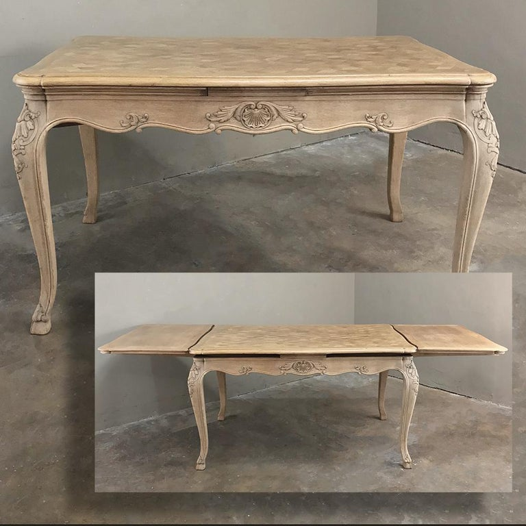 Hand-Carved Antique Liegoise Stripped Draw Leaf Dining Table For Sale