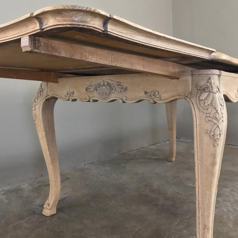 20th Century Antique Liegoise Stripped Draw Leaf Dining Table For Sale