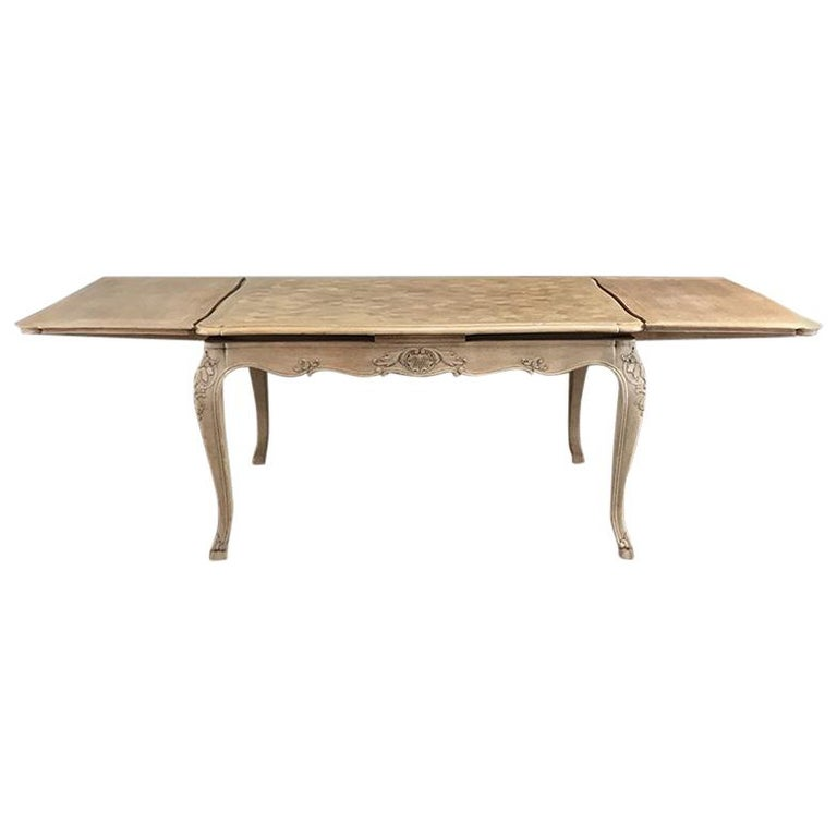 Antique Liegoise Stripped Draw Leaf Dining Table For Sale