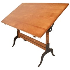 Antique Lietz Drafting Table in Maple and Cast Iron Art Deco Period