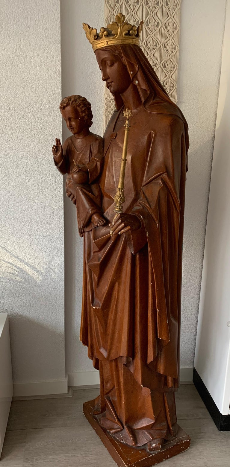 Antique Lifesize Mary and Child Jesus Gothic Revival Wooden Church Sculpture For Sale 4