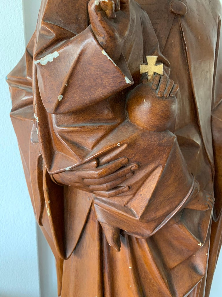 Antique Lifesize Mary and Child Jesus Gothic Revival Wooden Church Sculpture For Sale 7