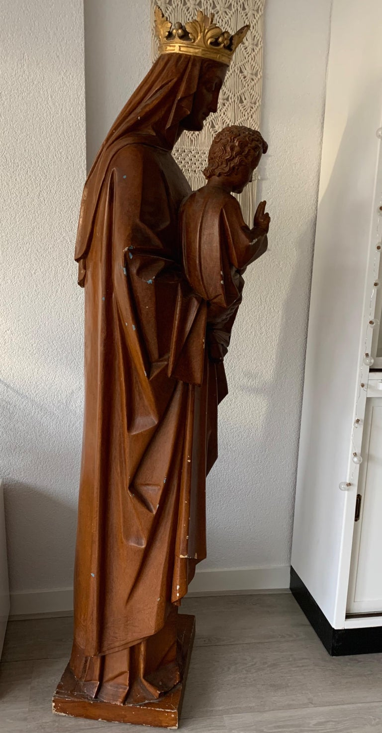Antique Lifesize Mary and Child Jesus Gothic Revival Wooden Church Sculpture For Sale 9