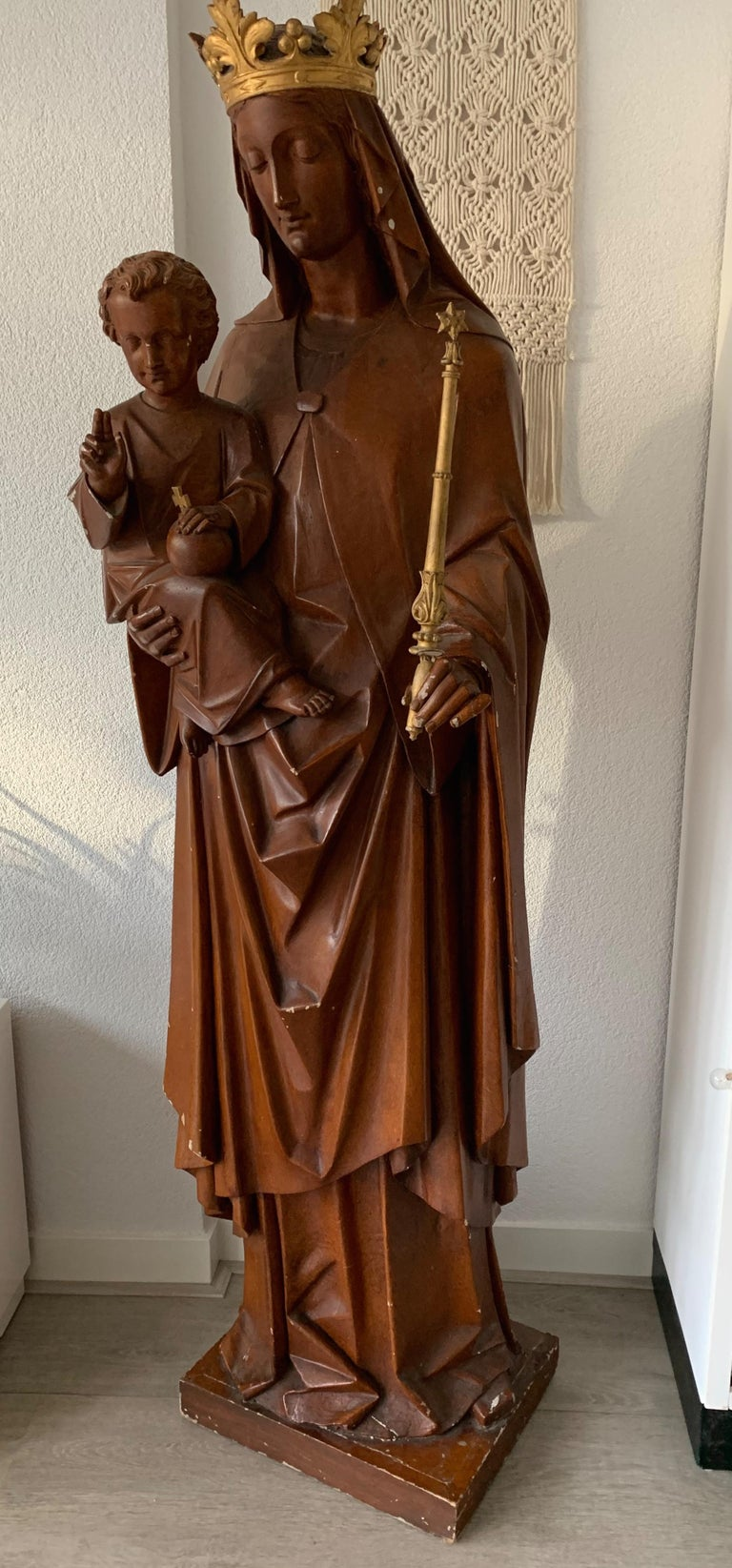 Antique Lifesize Mary and Child Jesus Gothic Revival Wooden Church Sculpture For Sale 12
