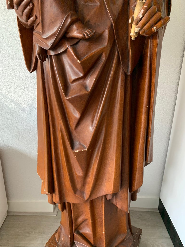 Antique Lifesize Mary and Child Jesus Gothic Revival Wooden Church Sculpture For Sale 13