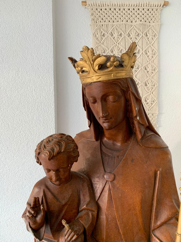 Antique Lifesize Mary and Child Jesus Gothic Revival Wooden Church Sculpture For Sale 14