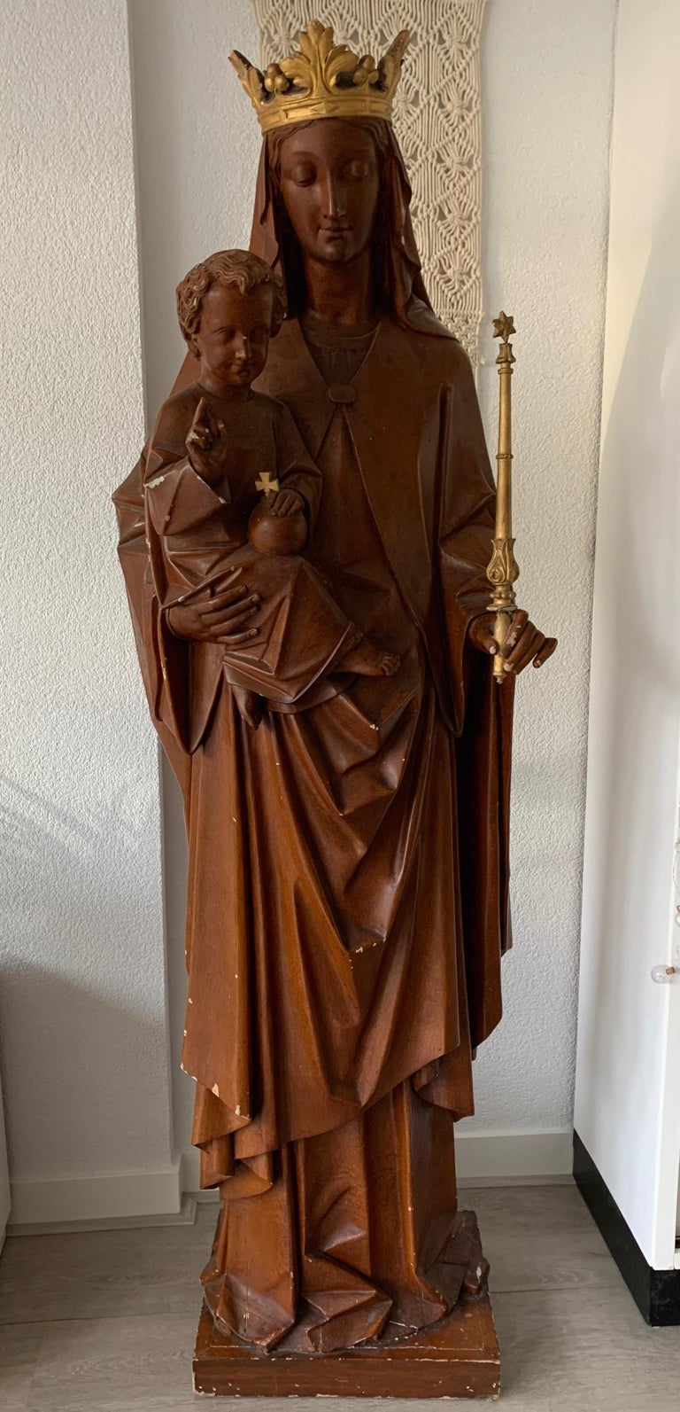 European Antique Lifesize Mary and Child Jesus Gothic Revival Wooden Church Sculpture For Sale