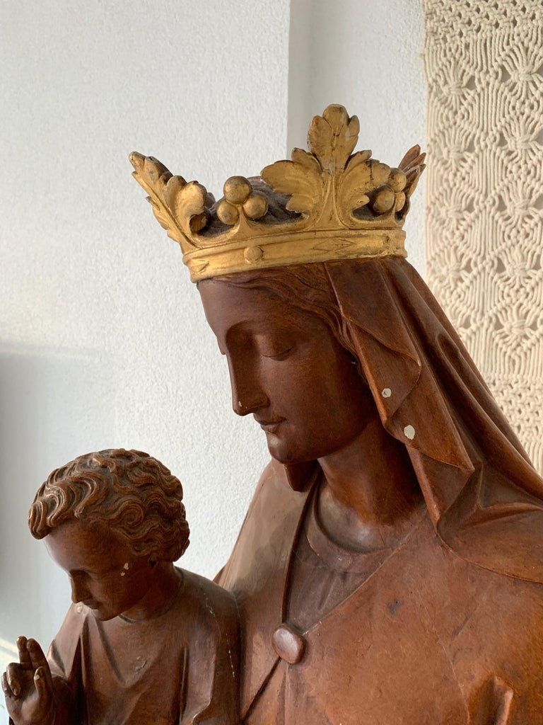 20th Century Antique Lifesize Mary and Child Jesus Gothic Revival Wooden Church Sculpture For Sale