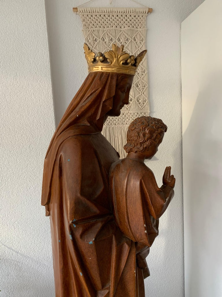 Antique Lifesize Mary and Child Jesus Gothic Revival Wooden Church Sculpture For Sale 1