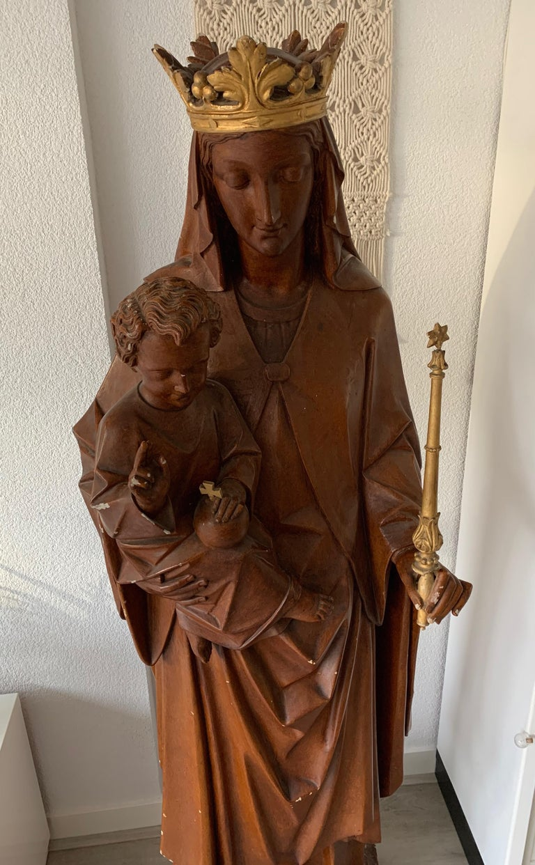 Antique Lifesize Mary and Child Jesus Gothic Revival Wooden Church Sculpture For Sale 2