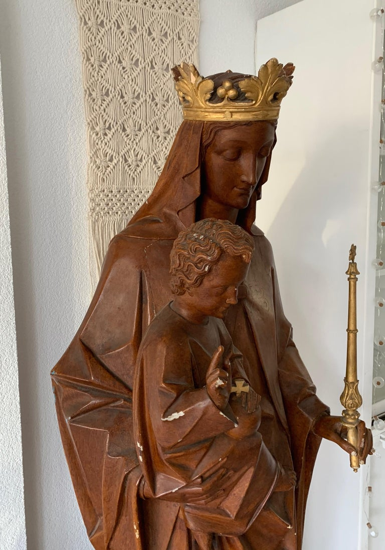 Antique Lifesize Mary and Child Jesus Gothic Revival Wooden Church Sculpture For Sale 3