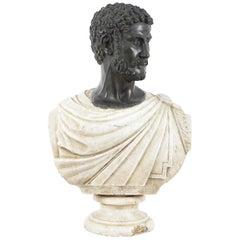 Antique Lifesize Roman Marble Bust, Bronze Head